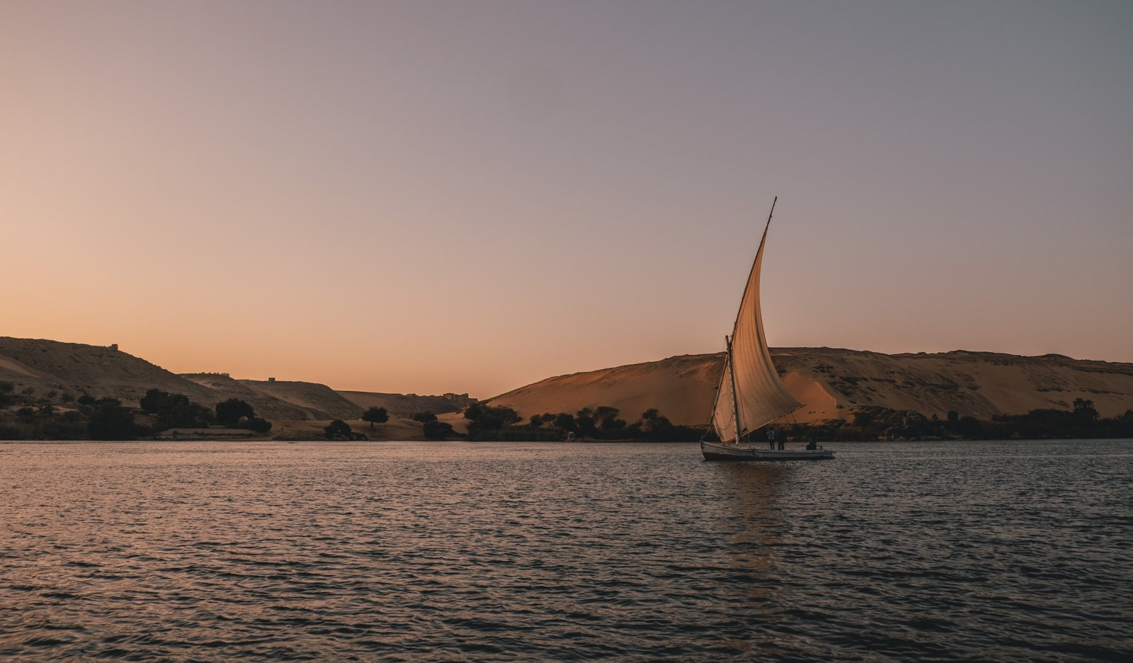 A small local sailboat on the Nile in Egypt
