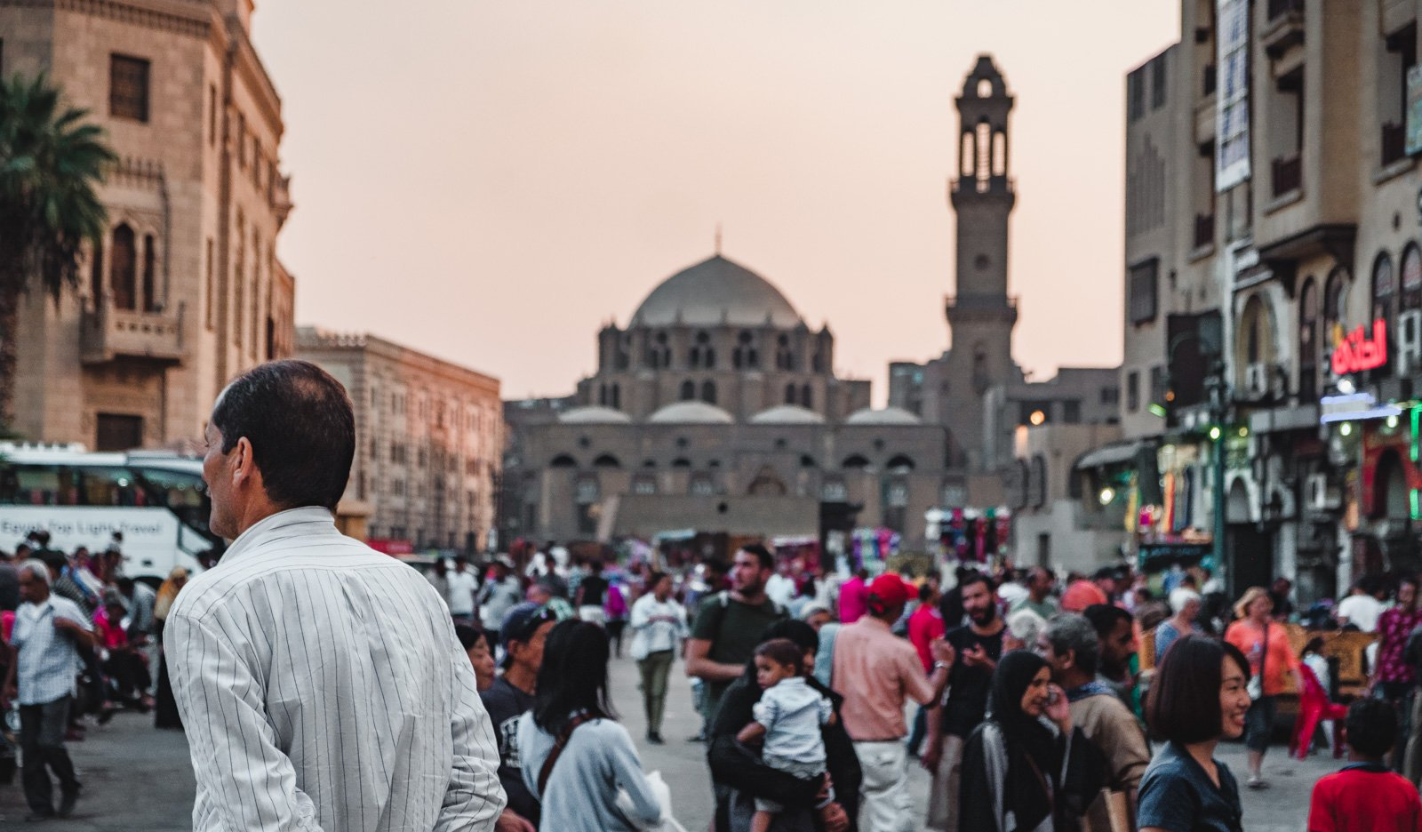 The bustling streets of Cairo, Egypt full of locals