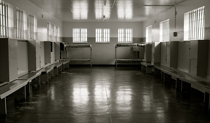 black and white photograph of the jail where Nelson Mandela was kept