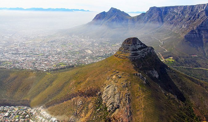 An aerial view of Cape Town from the mountains