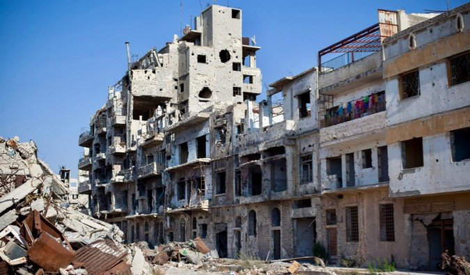 One of the many damaged buildings in Syria