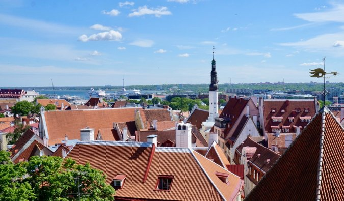 The view over the city from the Kohtuotsa view point in Tallinn, Estonia