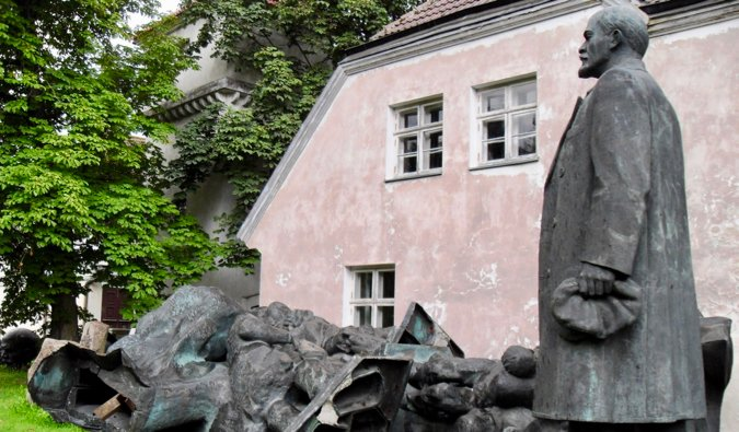 An old statue of Lenin at the Soviet Statue Graveyard in Tallinn, Estonia