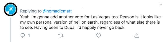 A Twitter screenshot about Las Vegas