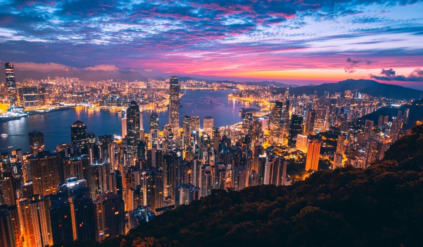 The massive and towering skyline of Hong Kong at night