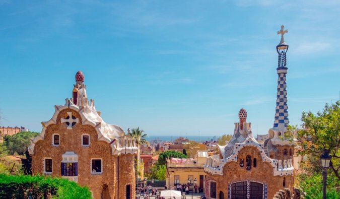 The famous park Guell in Barcelona, Spain in the summer