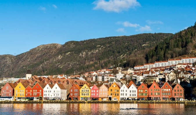 The historic and colorful old buildings of Bergen, Norway in the summer