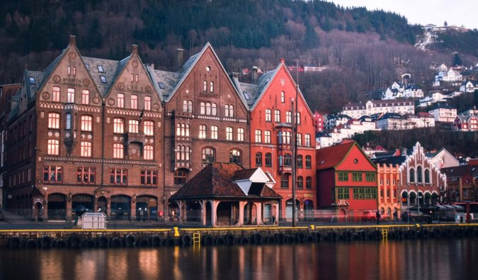 The famous and colorful Bryggen district of Bergen, Norway in winter