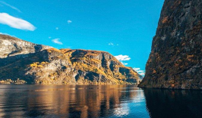 The beautiful calm waters of Nærøyfjord near Bergen, Norway