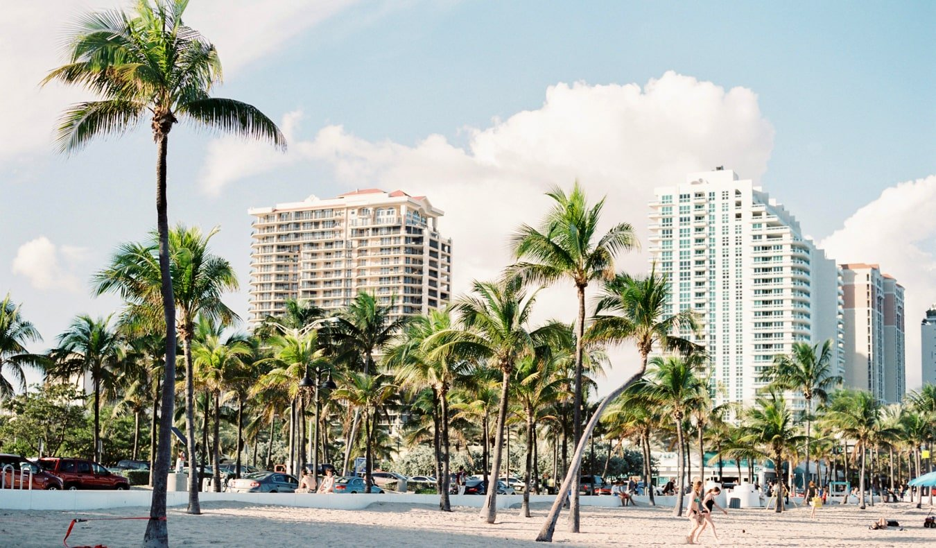 The sandy beaches of Miami, Florida