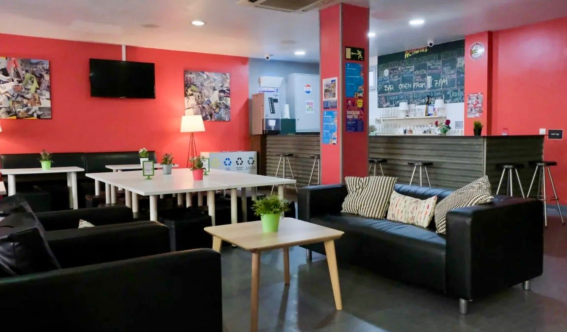 The common area of HelloBCN hostel in Barcelona, Spain