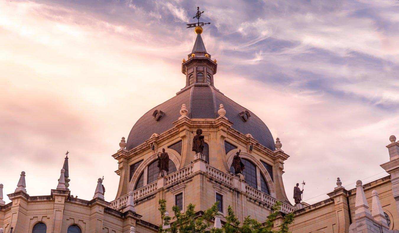 The exterior of the Catedral de la Almudena in Madrid, Spain