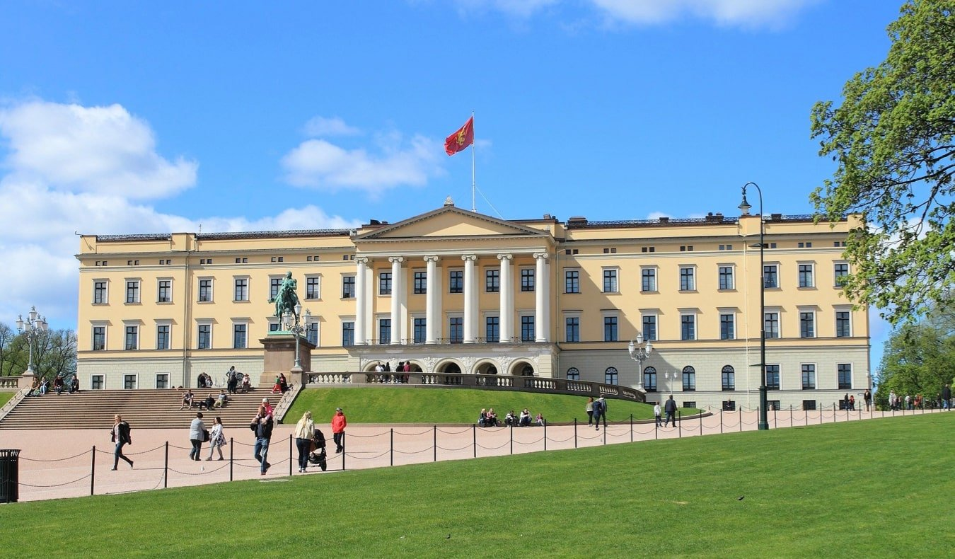 The historic Royal Palace in Oslo, Norway in the summer