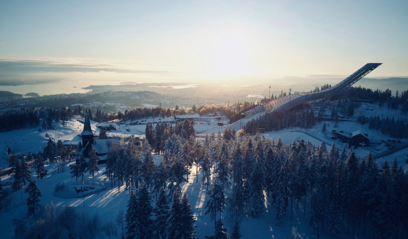 A wintery view of Oslo, Norway and the old Olympic ski jump in Holmenkollen