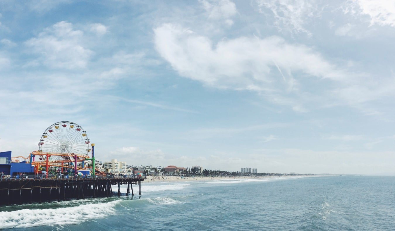 The picuresque Santa Monica beach and ferris wheel