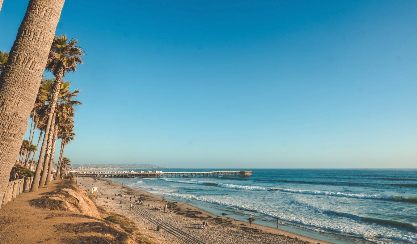 The wide, white-sand Pacific Beach near San Diego, California