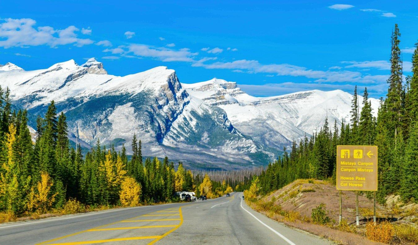 The beautiful landscape of Alberta, Canada between Banff and Jasper