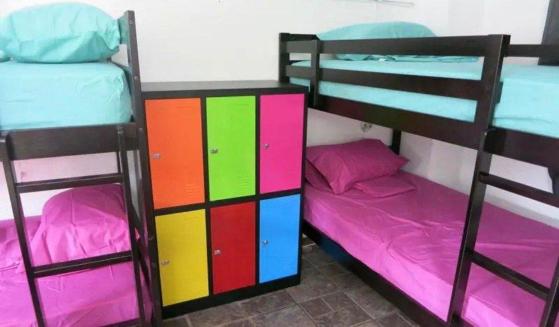 The colorful dorm rooms of El Machio Hostel in Panama City