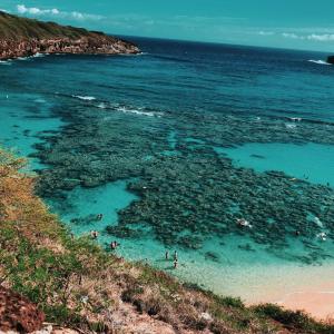 Pristine waters of Hanauma Bay in Oahu