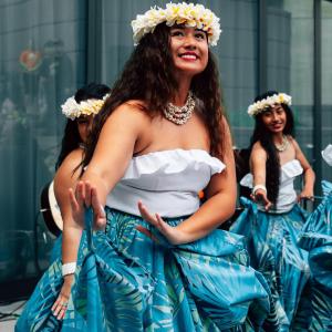 Group of dancers doing the luau in Oahu Hawaii