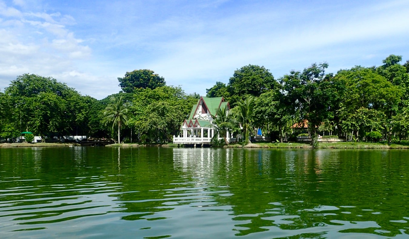 The calms waters of the lake in Lumpini Park,  Bangkok, Thailand