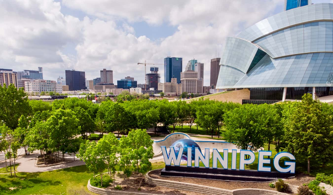 The city of Winnipeg, Canada during the warm summer months
