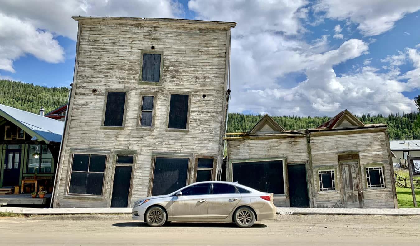 The Kissing Buildings in Dawson City, Yukon, Canada