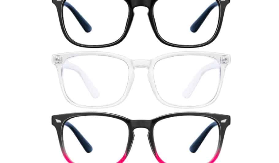 Three pairs of blue light glasses