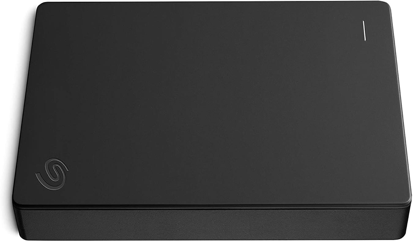 A black external hard drive