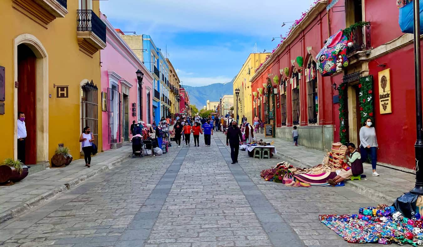 The narrow, colorful streets of Oaxaca, Mexico