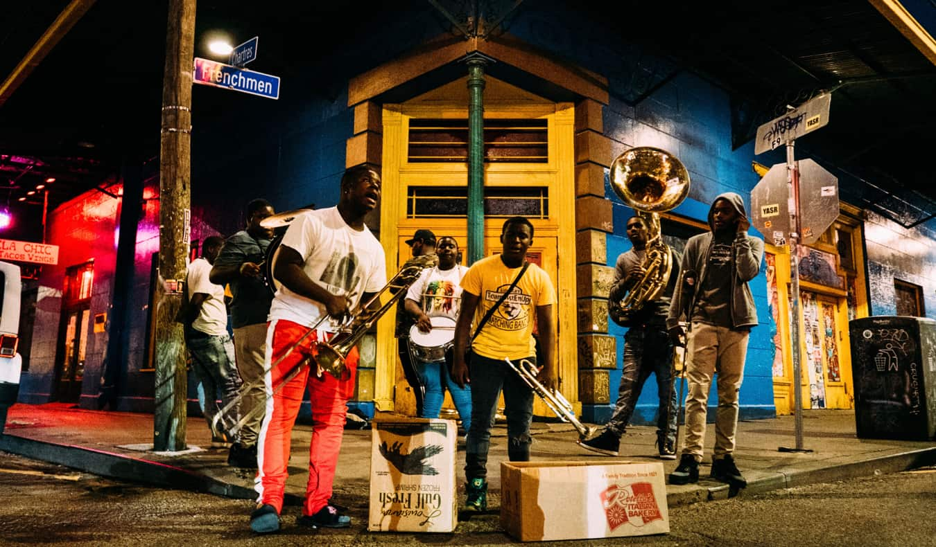A live band playing music outside in New Orleans