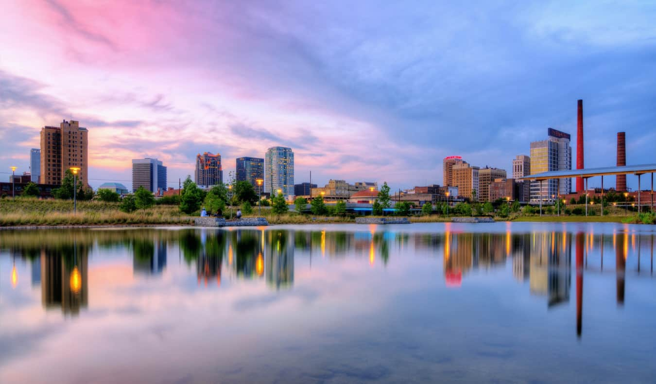The skyline of Birmingham, Alabama at sunset