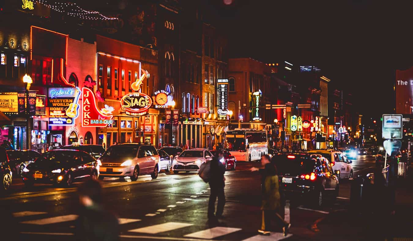 The bright lights of downtown Nashville, Tennessee at night