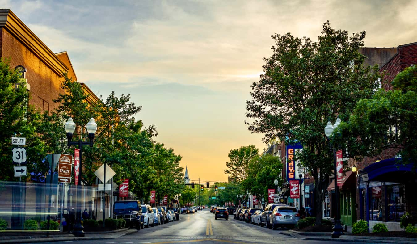 The charming downtown of Franklin, TN at sunset