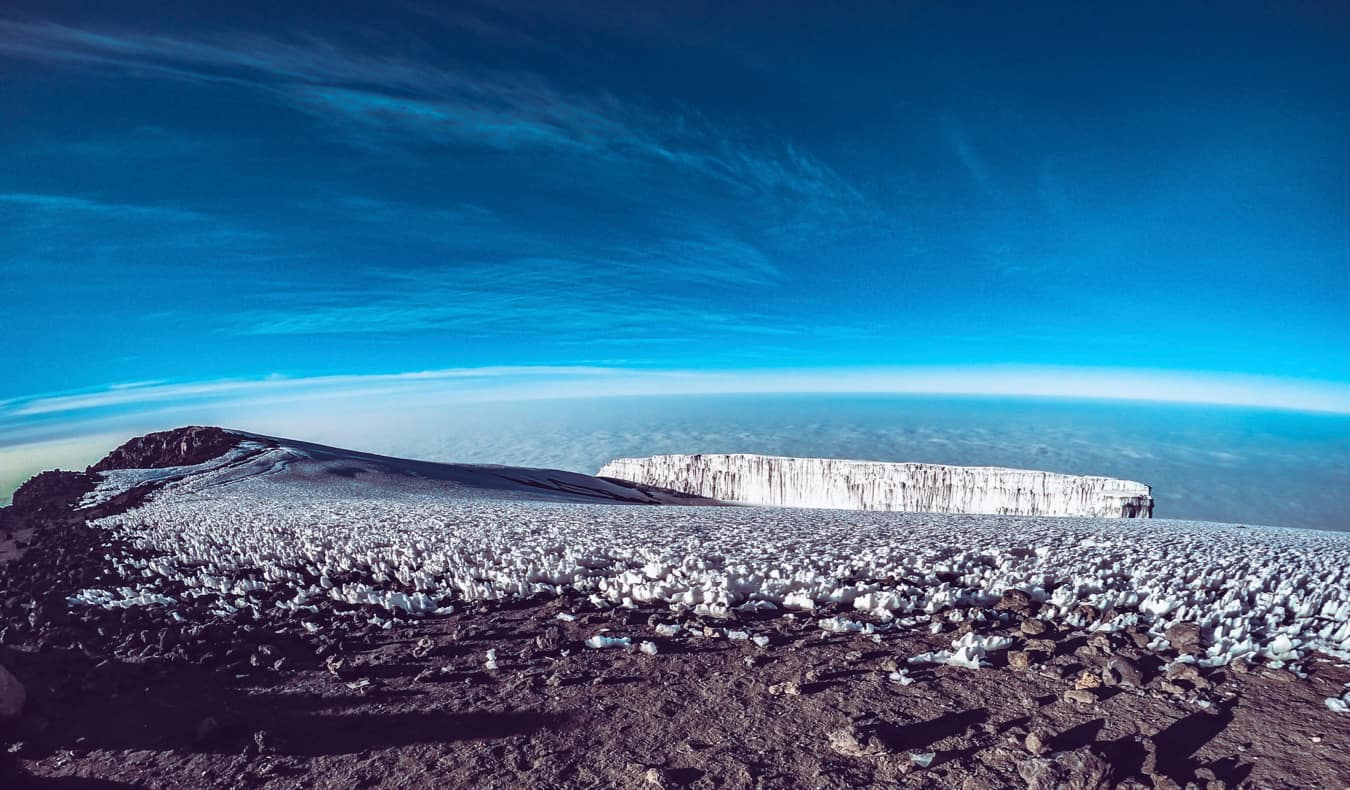 The view from the peak of Mount Kilimanjaro