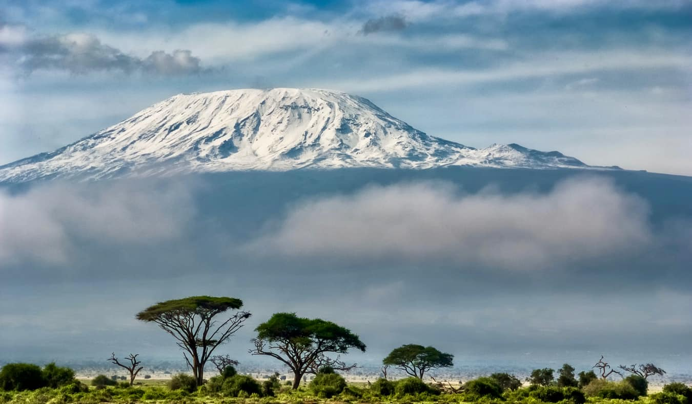 The view of Kilimanjaro in Tanzania from a nearby National park
