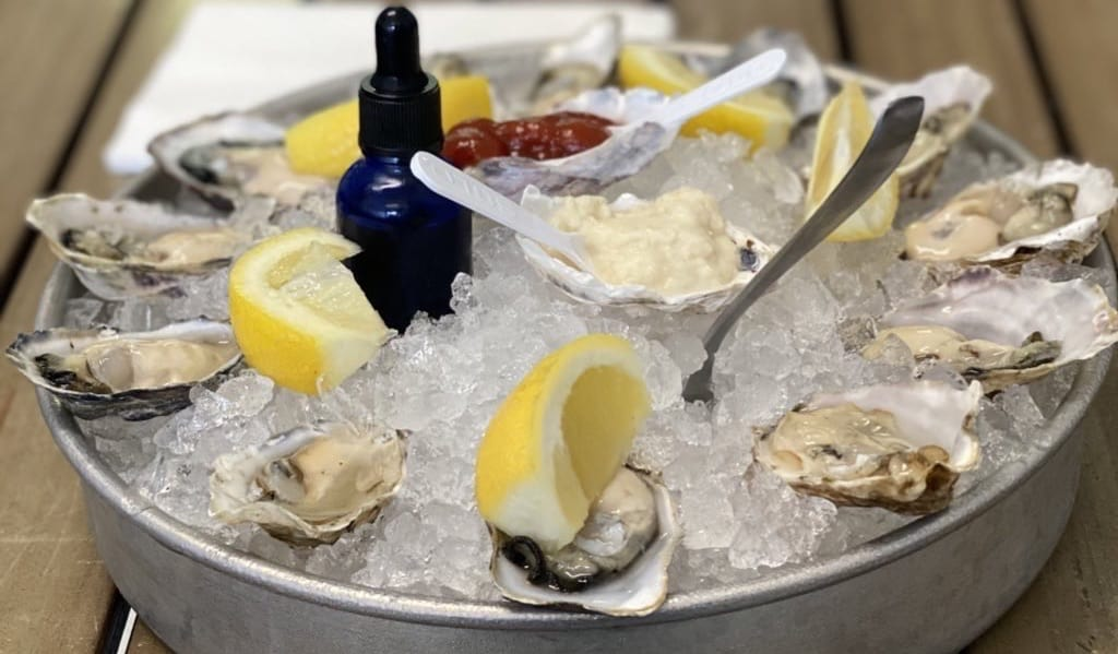 A platter of fresh oysters in Oregon, USA