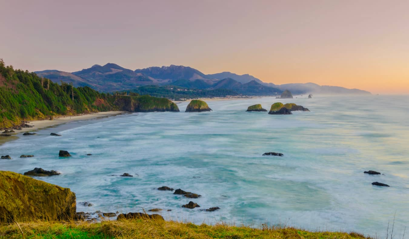 A sweeping view of the Oregon coast in Ecola State Park in Oregon, USA